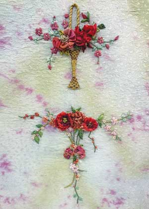 Basket and Garland silk ribbon embroidery design from Mary Jo Hiney