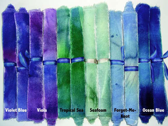Blue and Purple shades of Hand-Dyed Silk/Rayon Velvet Candy