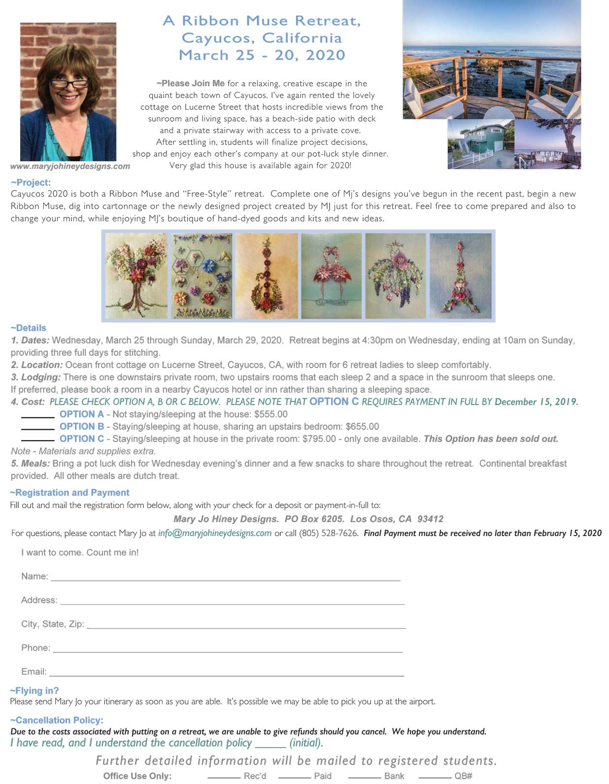 Mary Jo Hiney Designs Retreat Registraton for Cayucos 2020