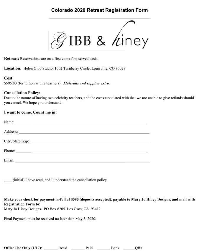 June 2020 Gibb & Hiney Colorado Retreat Registration form