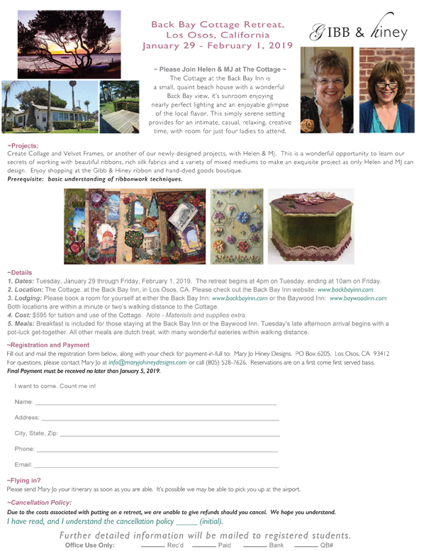 January 2019, California Cottage Retreat, with Helen Gibb & MJ Hiney