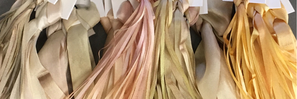 Creamy shades of hand-dyed silk ribbon, from  Mary Jo Hiney Designs
