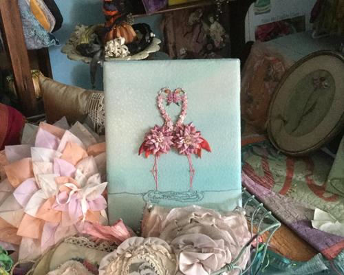 Flamingos, from the Ribbon Muse, by Mary Jo Hiney