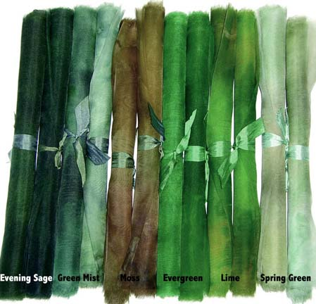 Green shades of Hand-Dyed Silk Organza