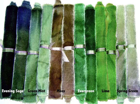 Green shades of Hand Dyed Silk/Rayon Velvet Candy