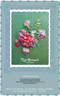 Rose Bouquet Silk Ribbon Embroidery Kit on Evergreen Noil Chamois, by Mary Jo Hiney