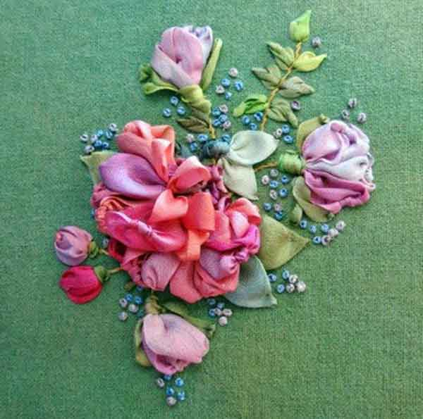 Rose Bouquet Silk Ribbon Embroidery Kit on Evergreen Noil Chamois