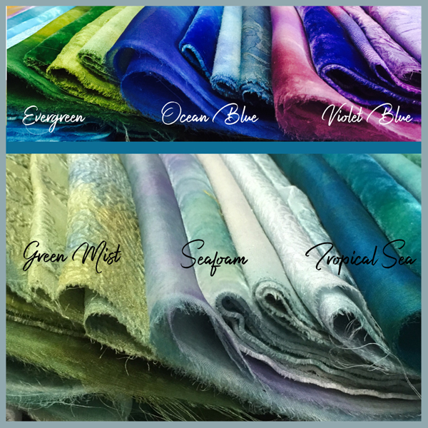 Hand-dyed silk fabrics from Mary Jo Hiney Designs