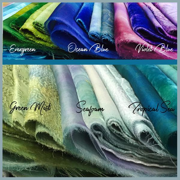 Hand-dyed silk fabrics from Mary Jo Hiney Designs