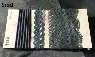 Steel hand-dyed cluny lace trim collection from Mary Jo Hiney Designs