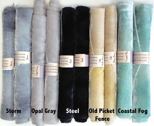 Cloudy Sky shades of Hand-Dyed Silk/Rayon Velvet Candy