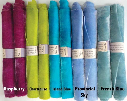 Island shades of Hand-Dyed Silk/Rayon Velvet Candy